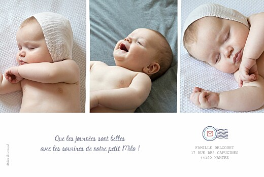 Faire-part de naissance Ruban pictos 4 photos blanc - Page 2