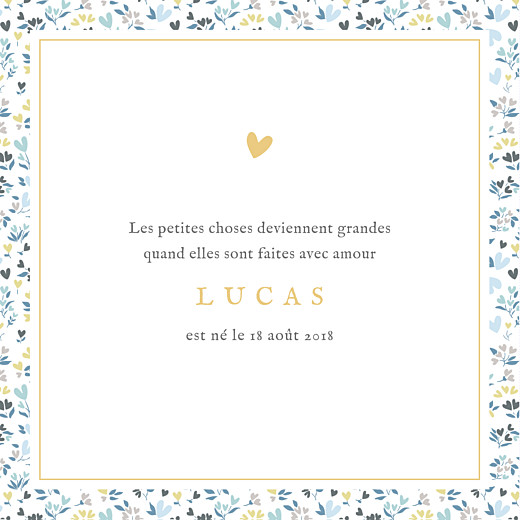 Faire-part de naissance Liberty cœur (4 pages) bleu - Page 3