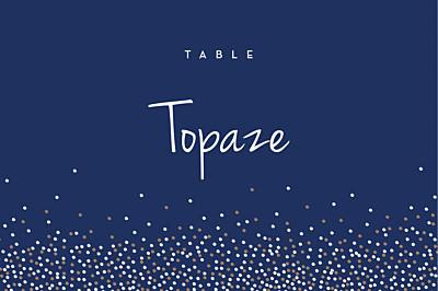 Marque-table mariage Confetti bleu finition