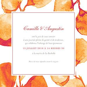 Faire-part de mariage orange ombres florales orange