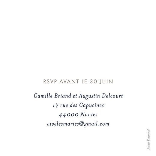 Carton d'invitation mariage Ombres florales bleu - Page 2