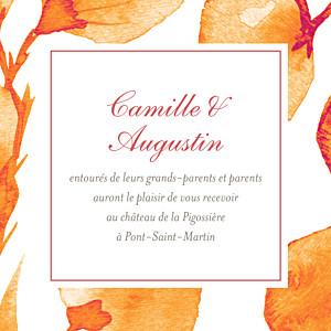 Carton d'invitation mariage orange ombres florales orange
