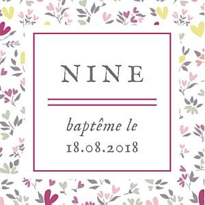 Etiquette de baptême violet liberty cœur (carré) prune