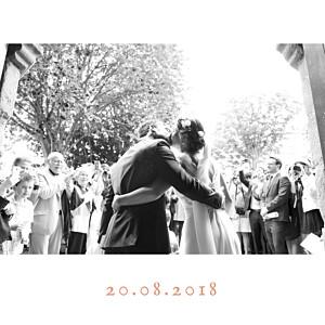 Carte de remerciement mariage rose simple  4 photos (triptyque) corail