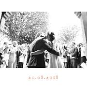 Carte de remerciement mariage Simple  4 photos (triptyque) corail page 1