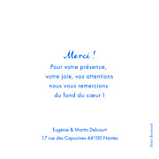 Carte de remerciement mariage Souvenir 4 photos (triptyque) bleu page 3