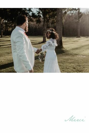 Carte de remerciement mariage Bandeau 1 photo portrait vert d'eau