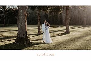 Carte de remerciement mariage rose bandeau 1 photo paysage corail