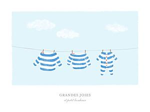 Affiche fille fil à linge marinière bleu