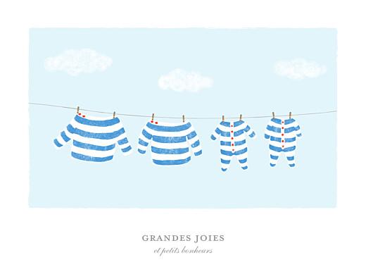 Affiche Fil à linge marinière jumeaux bleu - Page 1