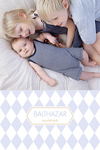 Faire-part de naissance tendance losanges portrait 2 photos bleu