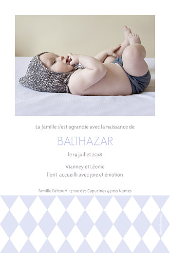 Faire-part de naissance Losanges portrait 2 photos bleu - Page 2