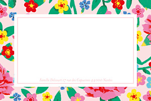 Carte de correspondance rose pivoines rose
