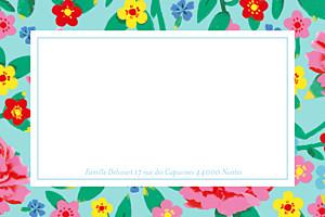 Carte de correspondance bleu pivoines bleu
