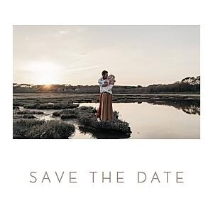 Save the date classique simple 1 photo carré blanc