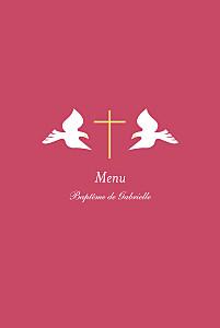 Menu de baptême jumeaux croix & colombes rose