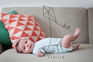 Faire-part de naissance photo illustrée mon petit cerf-volant noir