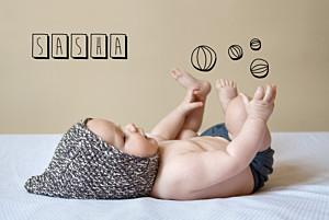 Faire-part de naissance photo illustrée mon petit jongleur noir