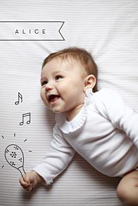 Faire-part de naissance photo illustrée mon petit musicien noir