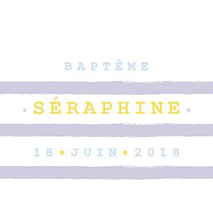 Etiquette de baptême violet marinière parme