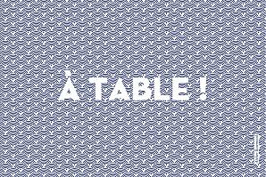 Marque-table mariage moderne seigaiha bleu