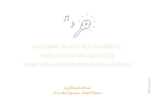 Carte de remerciement Merci petit musicien blanc - Page 2