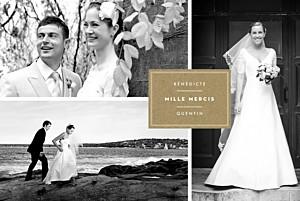 Carte de remerciement mariage marron étiquette 4 photos paysage kraft