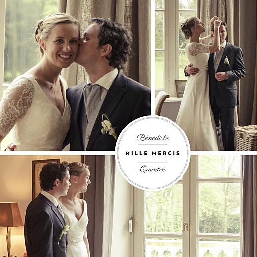 Carte de remerciement mariage Médaillon 3 photos carré blanc