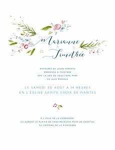 Faire-part de mariage petite alma  journée de printemps blanc