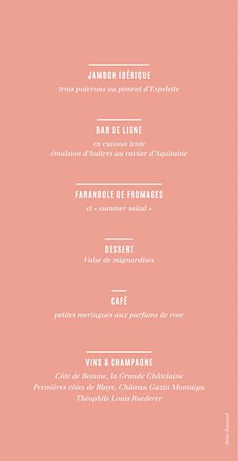 Menu de mariage Trait contemporain corail - Page 2