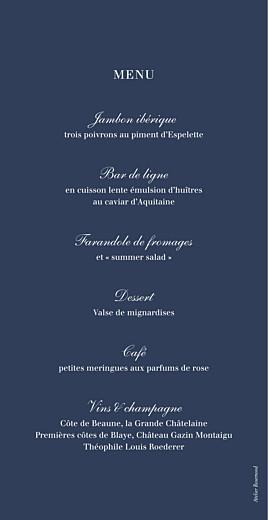 Menu de mariage Marin rv bleu - Page 2