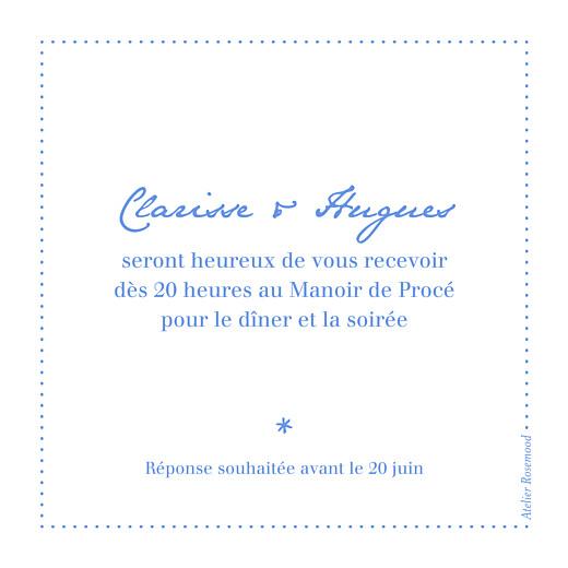 Carton d'invitation mariage Carré contemporain bleu - Page 2