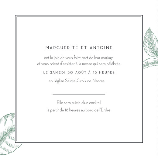 Faire-part de mariage Gravure chic vert - Page 3