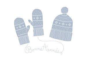 Carte de voeux marion bizet hiver au chaud photo bleu
