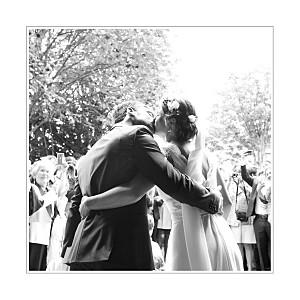 Carte de remerciement mariage mr & mrs clynk  gravure chic bleu