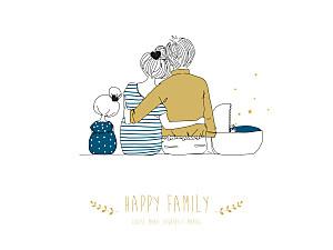 Affichette Lovely family 2 enfants (baby) garçon