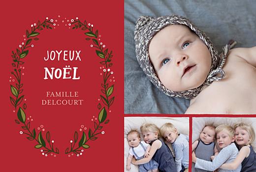 Carte de voeux Couronne de décembre (3 photos) rouge