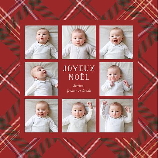 Carte de voeux Noël écossais 8 photos rouge