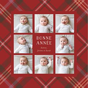 Carte de voeux motifs tissu écossais 8 photos rouge