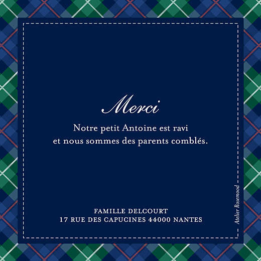Carte de remerciement Petit écossais photo bleu & vert - Page 2
