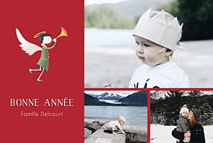Carte de voeux ange (3 photos) rouge