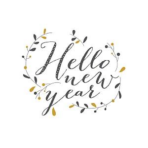 Carte de voeux Hello new year 3 photos brun