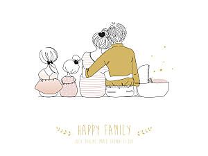 Affichette Lovely family 3 enfants (baby) filles