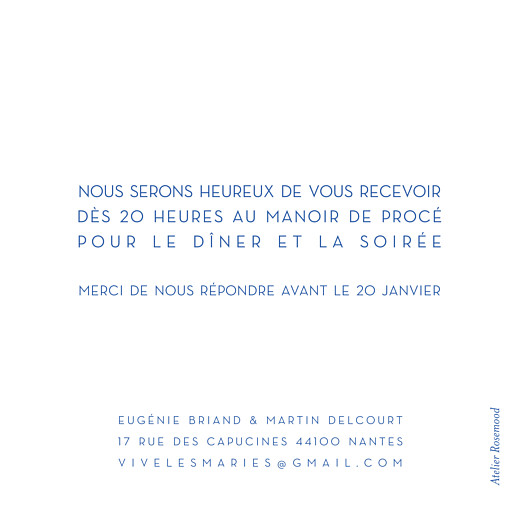 Carton d'invitation mariage Justifié contemporain bleu - Page 2