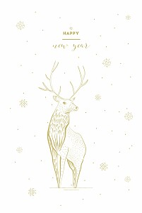 Carte de voeux cerf photo blanc