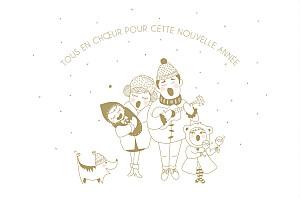 Carte de voeux Famille en chœur blanc
