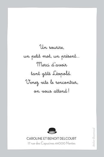 Carte de remerciement Dandy portrait gris - Page 2