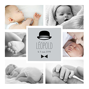 Faire-part de naissance noir et blanc dandy 8 photos gris