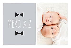 Carte de remerciement noir et blanc merci jumeaux dandys photo gris