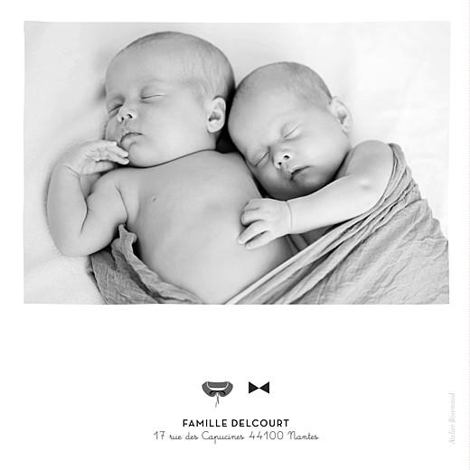 Faire-part de naissance Dandy & coquette (4 pages) gris
